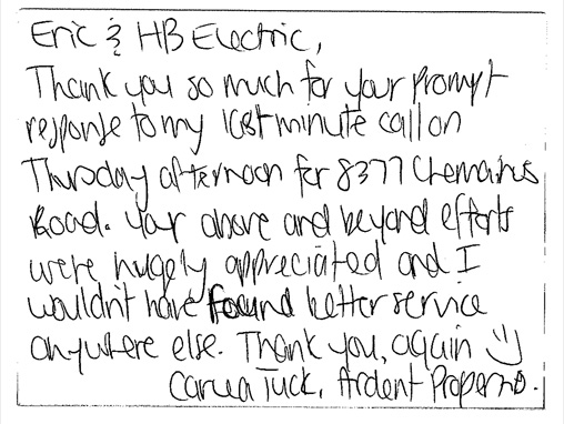 Thank you HB Electric!